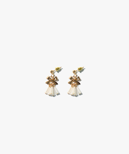 Elodie Ribbon Earrings (White)