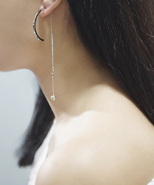 Felix Arc and Chain Earrings (Silver)
