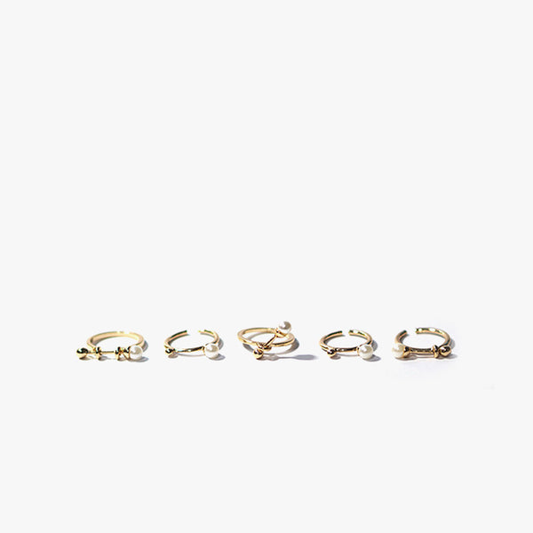 Inge Silver and Pearl Ring Set (Gold)