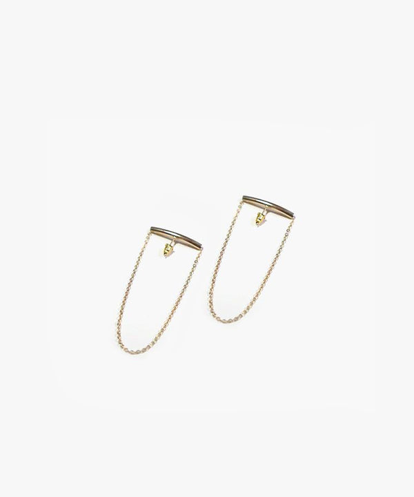 Leann Arc Chain Earrings (Gold)