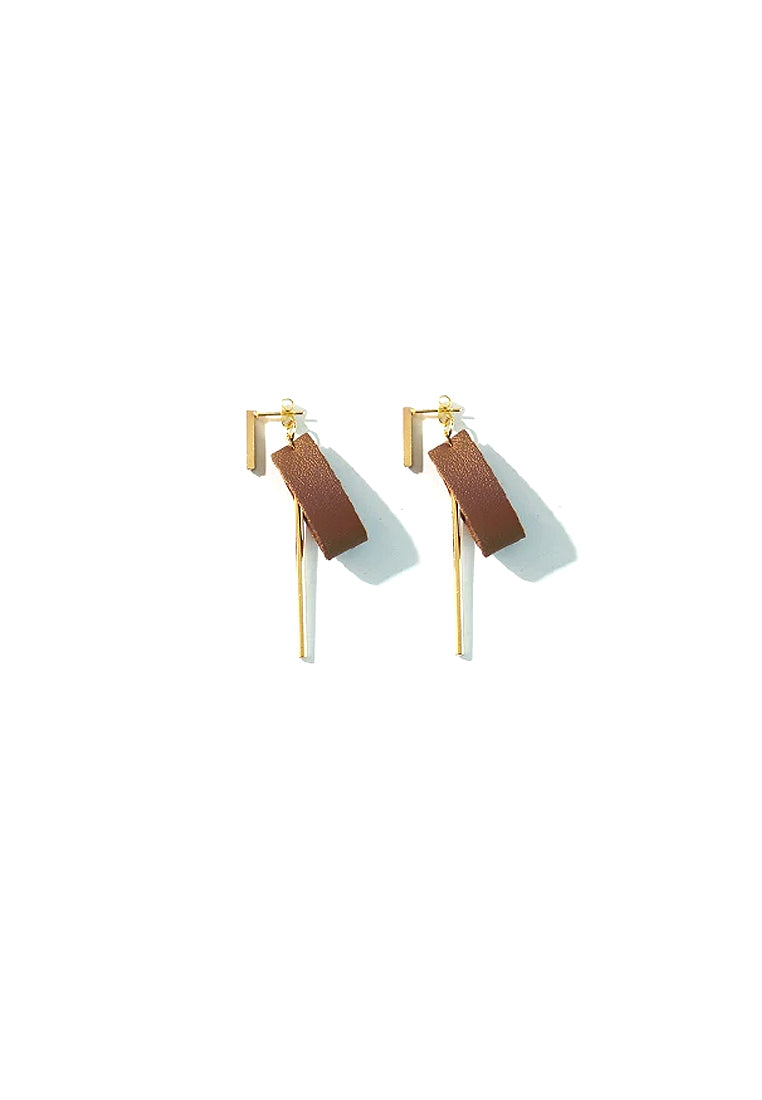 Luka Synthetic Leather Earrings (Brown)