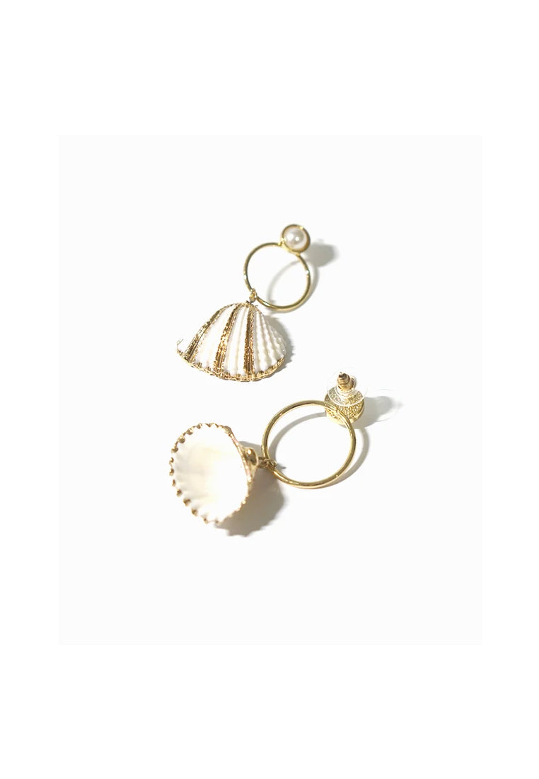 Mismatched Cockle Shell Earrings