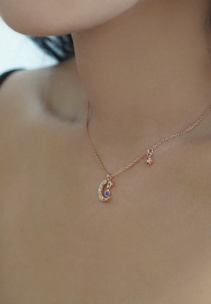 Moon and Star Rosegold Necklace