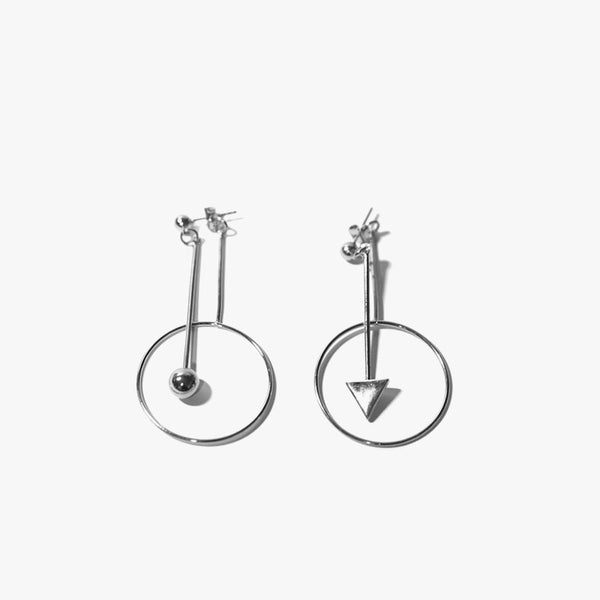 Riley Ball and Triangle Earring (Silver)