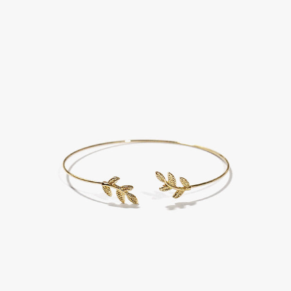 Yoanna Etched Leaf Bangle (Gold)