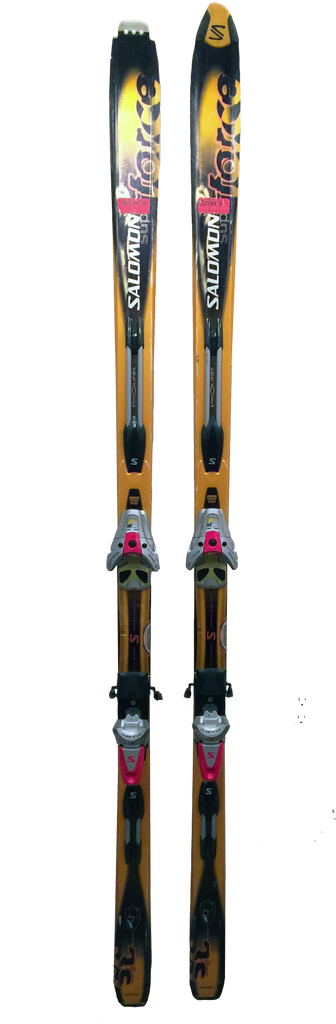 JP Auclair's Original Pair of Salomon Super Force 3S Skis with Salomon Equipe 900s Bindings
