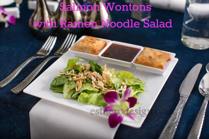 Salmon Wontons with Ramen Noodle Salad