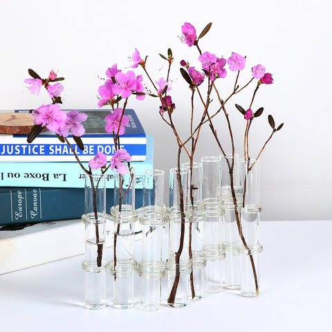 8 crystal glass test tube vase