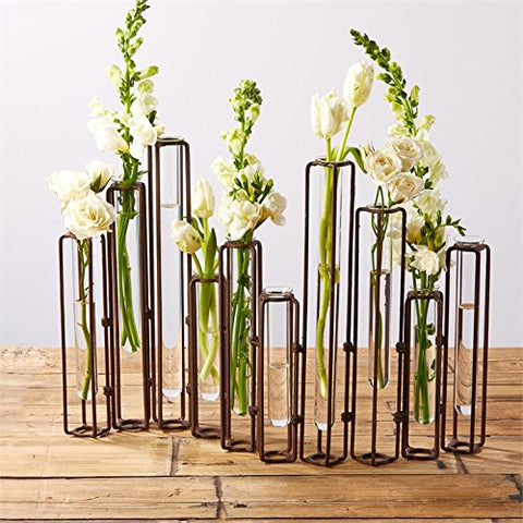 hinged flower vases with antiqued rusted finish