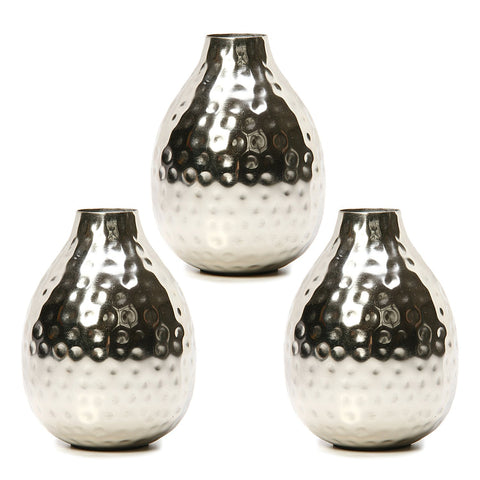 3 Silver Color Metal Bud Floral Vases