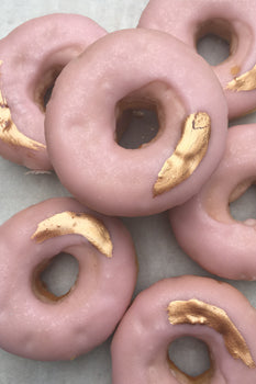 Custom Made Pink and Gold Donuts