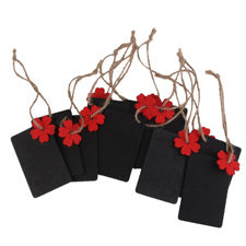 Chalkboard Tags with Red Flower