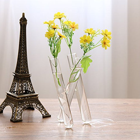3 crystal glass test tube vase