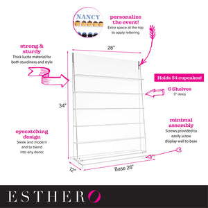 EstherO Acrylic Cupcake Wall Display