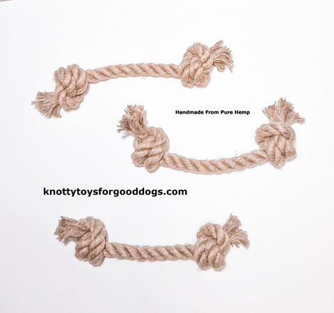 Image of 3 Knotty Toys for Good Dogs Big Gnaw handcrafted natural organic hemp rope dog toy.