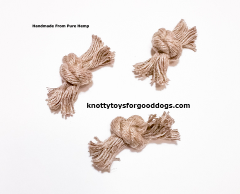 Image of Knotty Toys for Good Dogs Knotty Bon Bons handcrafted natural organic hemp rope cat toys.