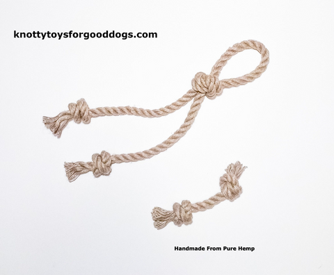 Image of Knotty Toys for Good Dogs L'il Gnaw & Knotty Chaw Chaw handcrafted natural organic hemp rope dog toy.