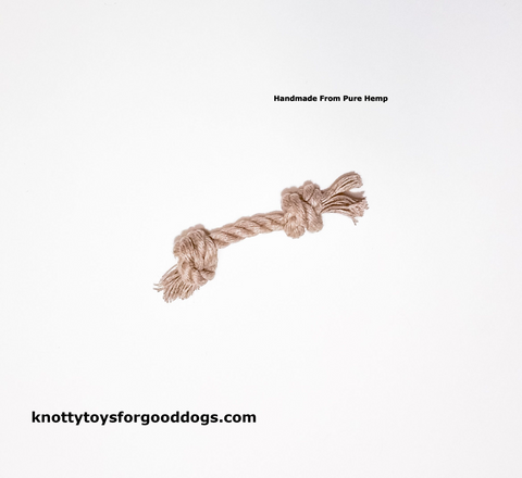 Image of Knotty Toys for Good Dogs L'il Gnaw handcrafted natural organic hemp rope dog toy.