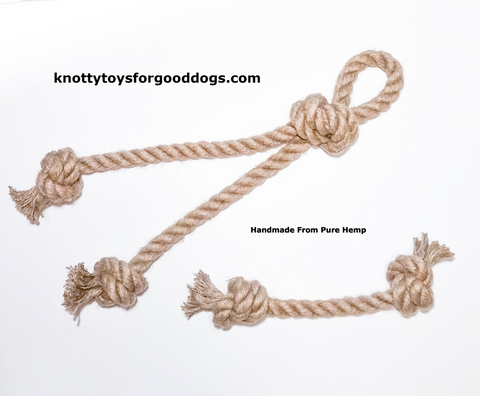 Image of Knotty Toys for Good Dogs Big Gnaw & Mighty Chaw Chaw handcrafted natural organic hemp rope dog toy.