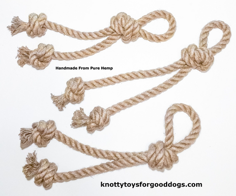 Image of 3 Knotty Toys for Good Dogs Mighty Chaw Chaw handcrafted natural organic hemp rope dog toy.