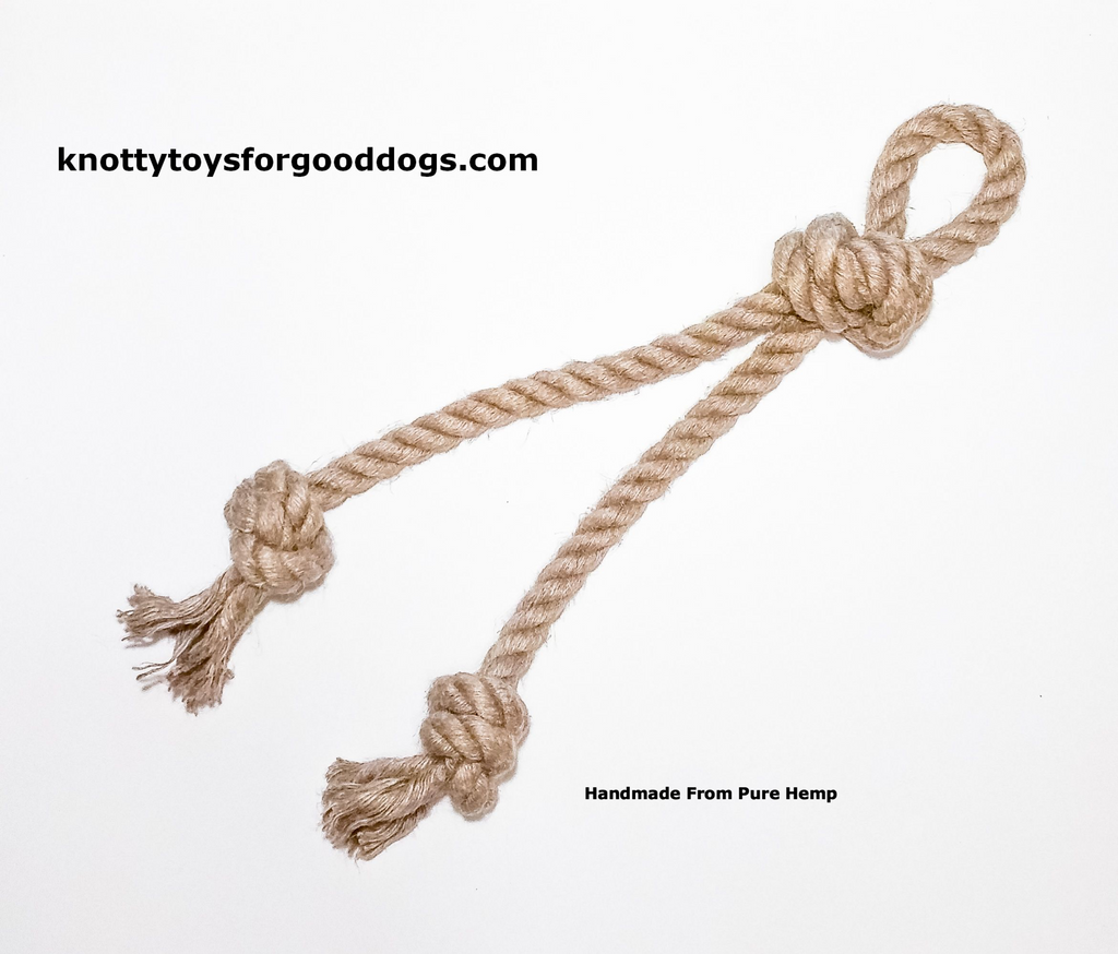 Image of Knotty Toys for Good Dogs Mighty Chaw Chaw handcrafted natural organic hemp rope dog toy.
