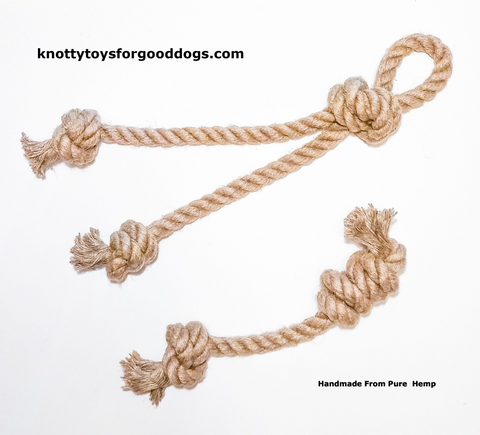 Image of Knotty Toys for Good Dogs Mighty Gnaw & Mighty Chaw Chaw handcrafted natural organic hemp rope dog toy.