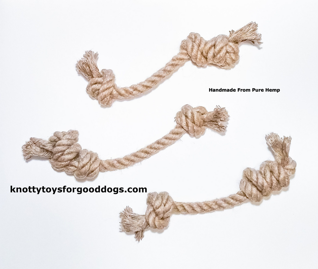Image of 3 Knotty Toys for Good Dogs Mighty Gnaw handcrafted natural organic hemp rope dog toy.