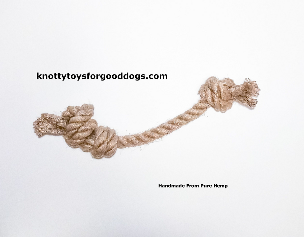 Image of Knotty Toys for Good Dogs Mighty Gnaw handcrafted natural organic hemp rope dog toy.
