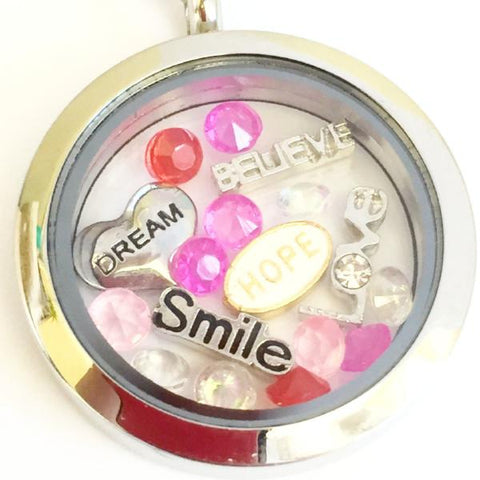 The Power of Words - Glass Locket and Floating Charms