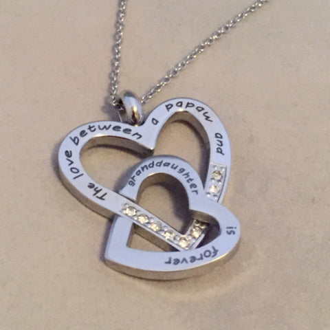 The Love Between a Papaw and Granddaughter is Forever - Necklace