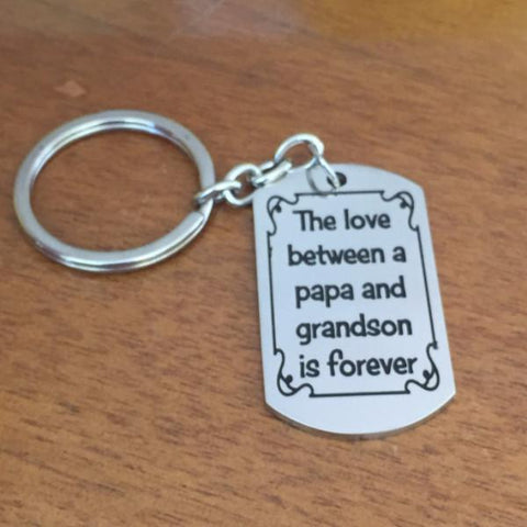 The love between a papa and grandson is forever - Key Chain