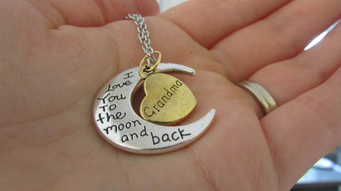 'Grandmother I Love You to the moon and back' necklace