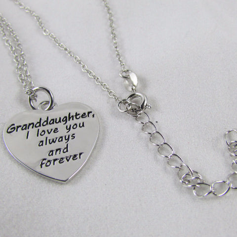 Granddaughter, I Love You Always and Forever Necklace