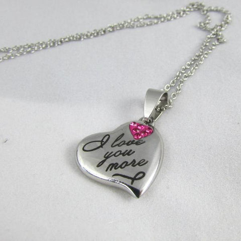 'I love you more' Pink Crystal Pendant Necklace
