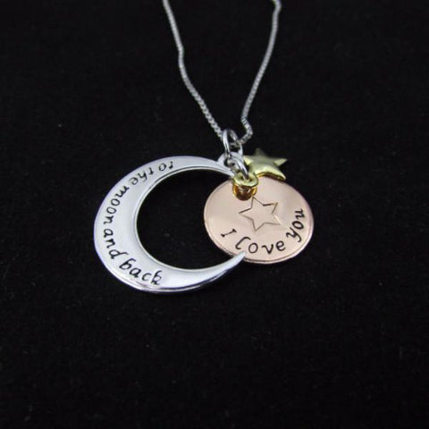 Sterling Silver I Love You to the Moon and Back - Necklace