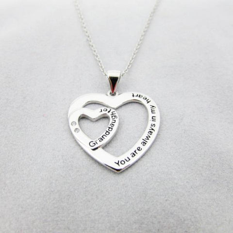 Sterling Silver - Granddaughter, You are Always in My Heart - Necklace