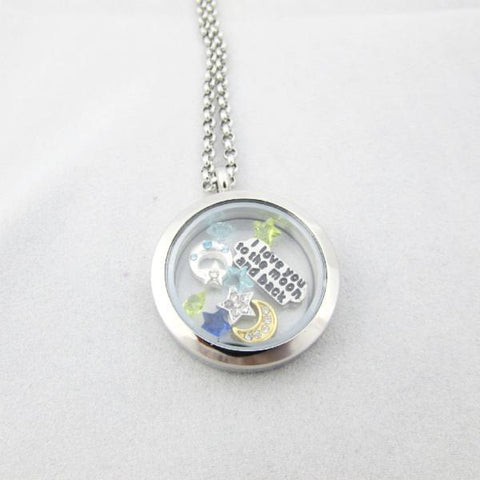 I Love You to the Moon and Back - Glass Locket and Floating Charms
