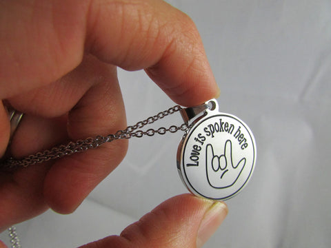 Love is Spoken Here - Sign Language Necklace