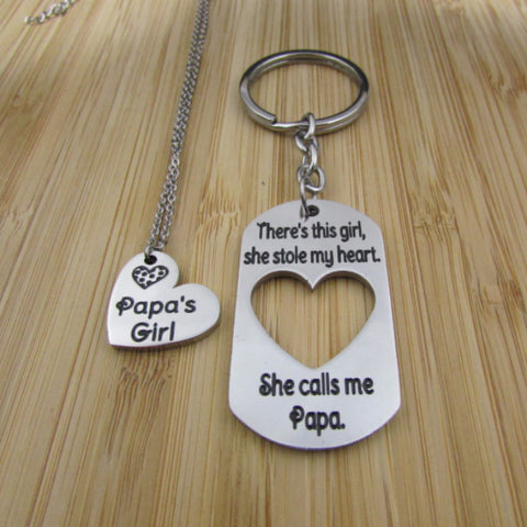 There's This Girl, She Stole My Heart. She Calls Me Papa/Papa's Girl - Keychain/Necklace