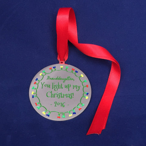 Granddaughter, You Light Up My Christmas - Christmas Ornament