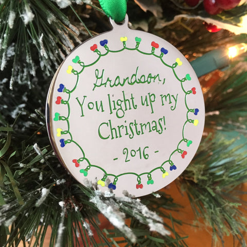 Grandson, You Light Up My Christmas - Christmas Ornament