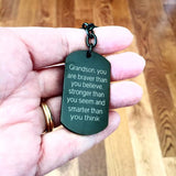 Grandson, You Are Braver Than You Believe... - Keychain