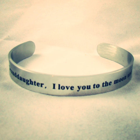 Granddaughter I Love You to the Moon and Back - Bangle Bracelet
