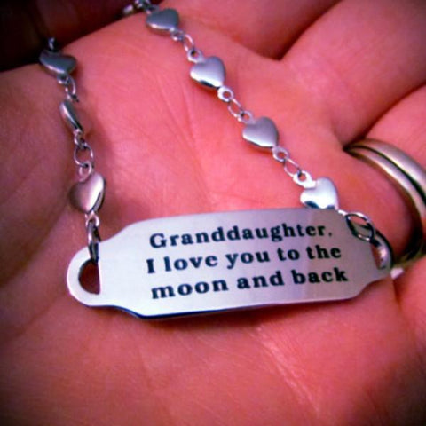 Granddaughter, I Love You to the Moon and Back - Bracelet
