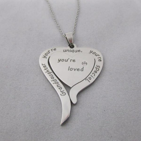 Granddaughter, You're Unique, You're Special, You're Loved - Necklace