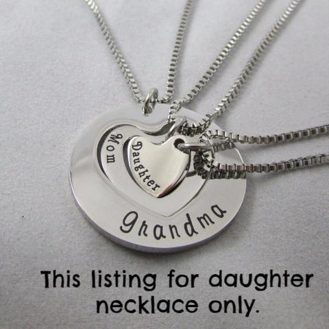 Daughter necklace - single piece - part of three generation set