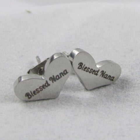 Blessed Nana - Heart Earrings