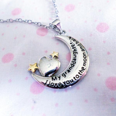 My Granddaughter, I Love You to the Moon and Back - Necklace