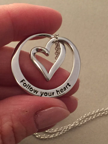 Follow Your Heart, Happiness Will Follow - Reversible Necklace