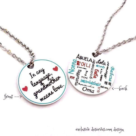In any language, grandmother means love - Reversible Necklace